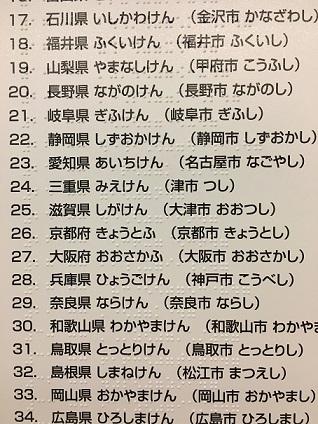 都道府県名・県庁所在地名は、点字と墨字(漢字とひらがな)で表記されています